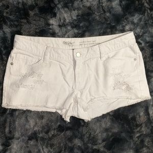 white low rise distressed shorts moss